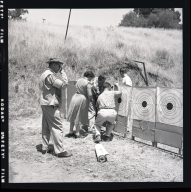 First shooting contest for muzzle-loading rifles and handguns at the Santiago Canyon rifle range near Brea.