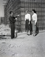 Construction of the Newport Balboa Savings and Loan building – employees inspecting the building progress (645).