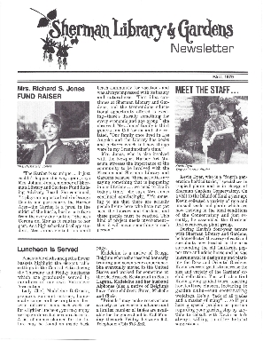 Sherman Library & Gardens Newsletter (Number 2: Fall 1979)