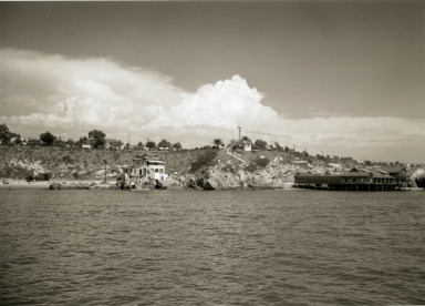 A view of China House (left) and the Corona del Mar Bathhouse (right) from the Balboa Peninsula.