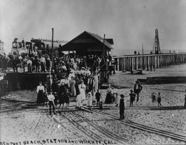 Newport pier and railroad station.