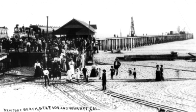 Newport wharf and station.