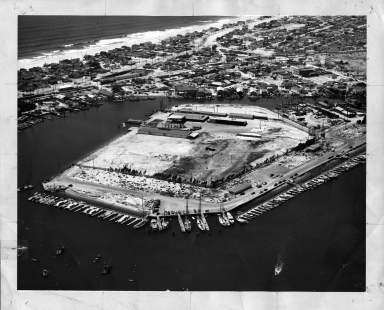 Aerial photograph of Consolidated Steel Plant  on the Lido Peninsula in Newport Beach.