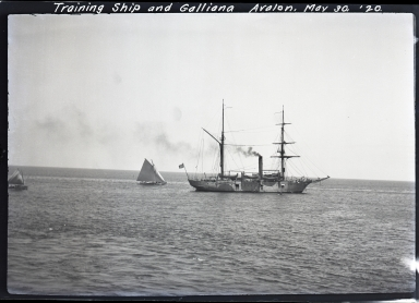Training ship and sailboat, Galliana, at Avalon