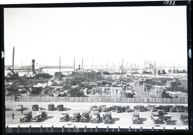 Hammond Lumber dock, ships at dock, many cars in foreground