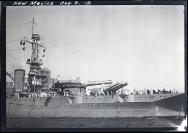USS New Mexico (BB-40), close up of ship and sailors on deck