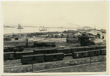 Main channel, ships, dredging, Deadman's Island, trains, train tracks