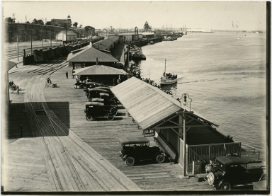 Harbor, docks, cars, trains