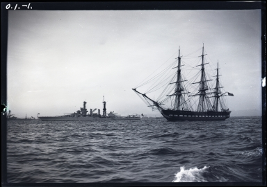 Old Ironsides, US Naval battleships and Pacific Fleet in outer harbor