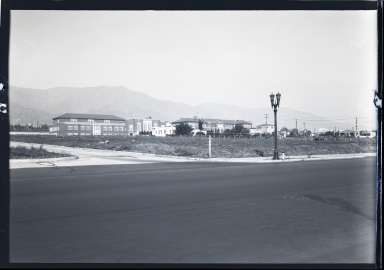 Unknown building, hills in background