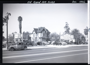 Old Grand Avenue home, used car lot