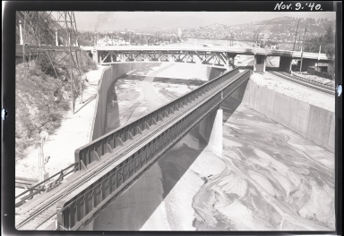 New Santa Fe Railway girder, new Dayton Avenue Bridge span, Los Angeles River Flood Control