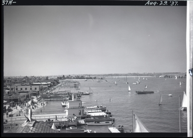 View from Pavilion of ferry landing, Lido Isle in far left