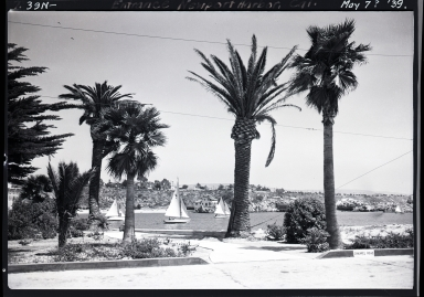 Entrance to Newport Harbor from Channel Road on Peninsula, view of China Cove, Corona del Mar