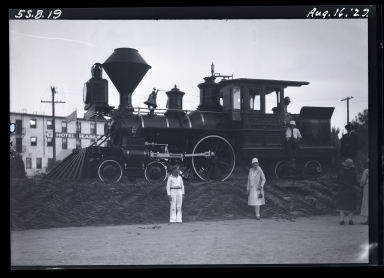 Old Spanish Days: steam engine: C. P. Huntington