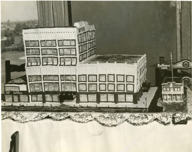 A cake shaped as a Buffums store.
