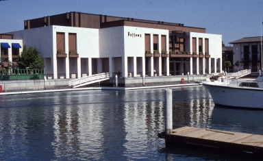 The exterior of a Buffums department store and dock.