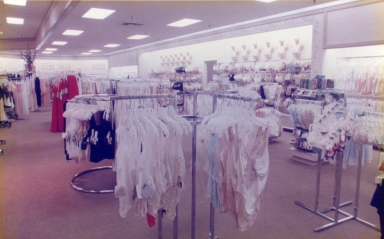 An interior view of a Buffums department store.