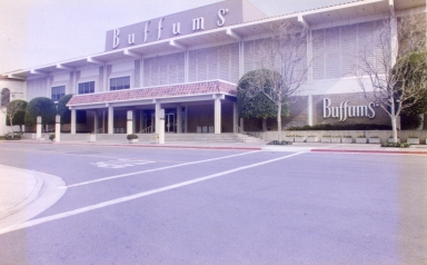 An exterior view of a Buffums deparment store.