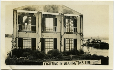 Float entered by Fire Dept. in Tournament of Lights, 1932. 1st Prize Washington Bicentenial Div.