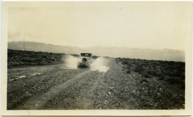 San Jacinto Mt. from U.S. #99 below Banning between Whitewater & Morongo Valley. Car in foreground