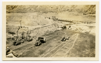 Construction work on Irvine Dam.