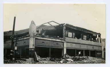 Earthquake damage to unidentified building in Santa Ana.