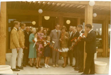 Grand Opening - May 13, '66: Larry Amling, Steven Amling, the Beeks, Clara Amling, Ray Amling, Anne Amling, [Newport Beach] Mayor Doreen Marshall, Jack Barnett, Al Auer, Jim Hines.