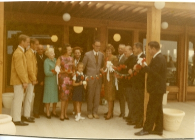 Larry & Steven Amling, old N.B. natives (we believe the Beeks), Clara Amling, Welcome Wagon Lady, Anne Amling, Ray Amling, [Newport Beach] Mayor Doreen Marshall, Jack Barnett, Albert Auer (Vice President, The Irvine Company), Jim Hines (President, Hines nursery).