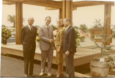 Ed Soule, Ray Amling, [Newport Beach] Mayor Doreen Marshall, Albert Auer (The Irvine Company) - Opening day.