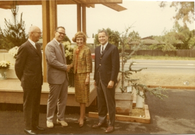 Ed Soule (General Contractor), Ray Amling, Mayor Doreen Marshall, Albert Auer (The Irvine Company).