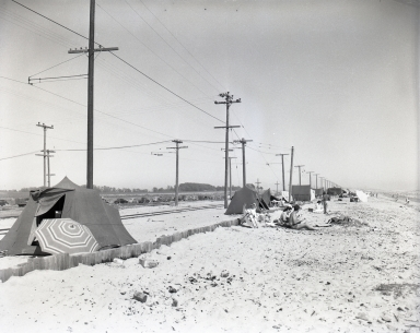 """Tin Can Beach"" or Bolsa Chica Beach, area east of Seal Beach, was not controlled and many people set up tents to camp for the entire weekend. The Pacific Electric Railroad tracks are also shown. (July 4)"