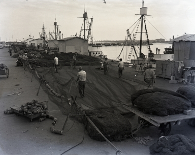 Fish Harbor. 1947. Dry and mend nets.