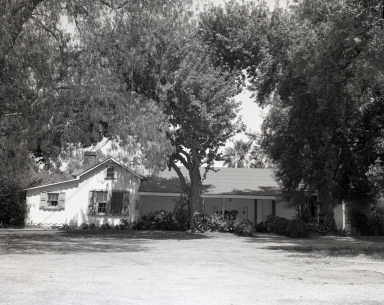 Rancho Aguaje de la Centinela adobe (early ranch house near Inglewood), a heritage left over from the Spanish days.