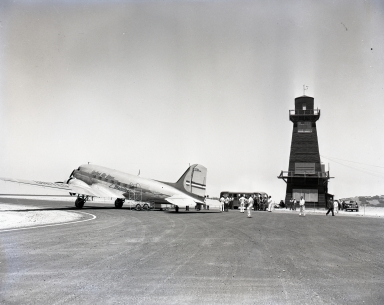 "Shown is the first civilian air flight to the ""Airport in the Sky,"" Catalina Island. (United Airline plane at terminal). (June 29 1946)"