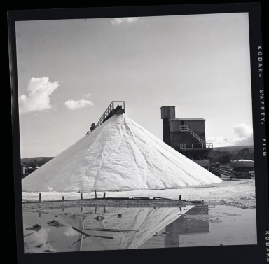 Salt evaporation pans or ponds in Upper Newport Bay convert seawater to coarse commercial salt (NaCl), sodium chloride, with other seawater minerals). The dried salt was ground finer than the coarse natural crystals and piled up for storage in the white cone shown beside the plant building.