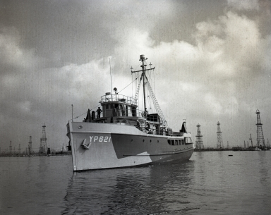 "U.S. Navy ""freezer"" ship (YP 621) after delivery to them from builders, Hodgson-Greene-Haldiman Shipyard on W. 9th St."