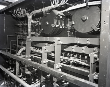 "Power switchboard installed in a U.S. Navy YP621 refrigerator or freezer ship to carry frozen meat to the South Pacific. An interesting sidelight: the extreme shortage of copper required the substitution of pure silver for the ""buss bars"" and connecting bolts, nuts, etc."
