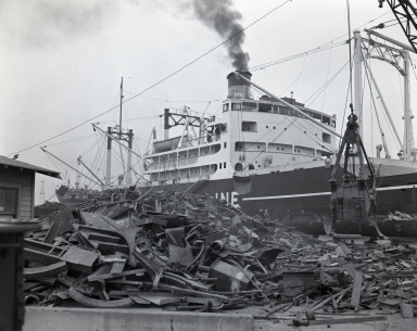 Loading of Japanese and other ships with scrap iron for shipment to Japan to be converted to steel and military equipment. The Chinese were protesting this.