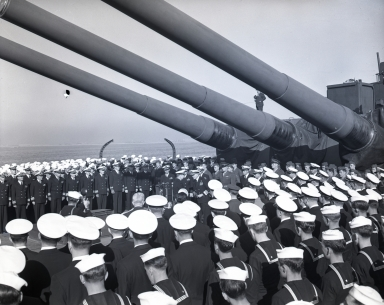 Change of command and retirement of U.S. Admiral William F. Halsey on board battleship South Dakota. (November 22, Thanksgiving Day)