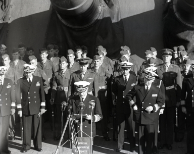 "Ceremony aboard Battleship South Dakota to honor Admiral ""Bull"" Halsey as he retires from U.S. Navy Pacific Fleet (November 22)"