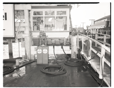 Mobil Oil Company station on a wharf.