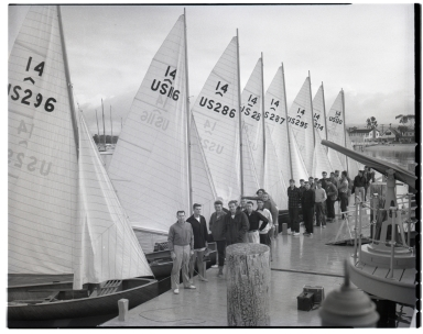Contestants and their boats at the Pacific Coast Intercollegiate Races, Dinghy Championship.