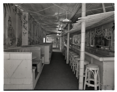 Interior of the Bamboo Room, which adjoined the Rendezvous Ballroom on the peninsula in Newport Beach.