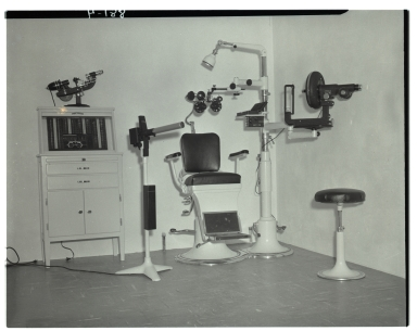 The interior of an unidentified optometrist's office.