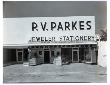 The storefront of P. V. Parks Jeweler and Stationary.