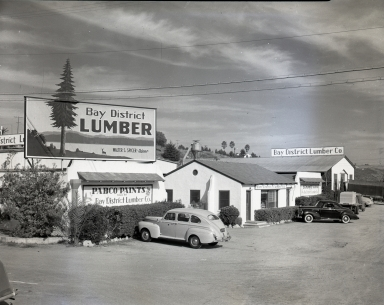 The storefront of the Bay District Lumber Company.