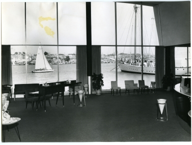 View of Newport Harbor out the window of Newport Balboa Savings and Loan.