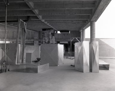 Construction of the Newport Balboa Savings and Loan building – interior of ceiling structure & upper floor ducting, (749-753)