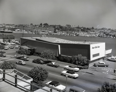 An aerial Newport Balboa Savings and Loan building